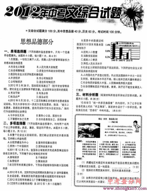 2012年辽宁省沈阳市中考思想品德试题及答案1