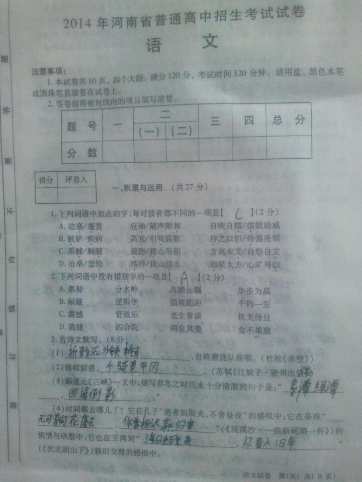 河南省年中考语文试卷